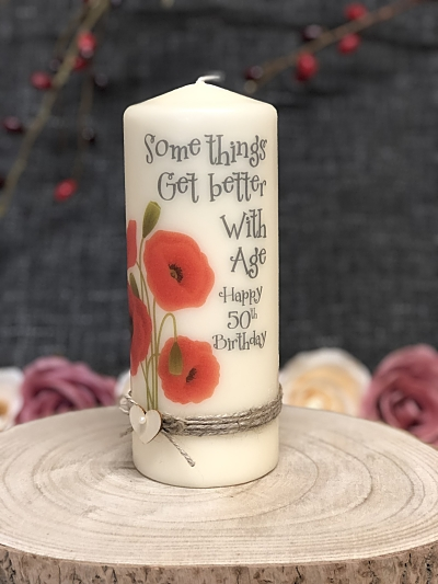 Poppy 50th Birthday Candle-