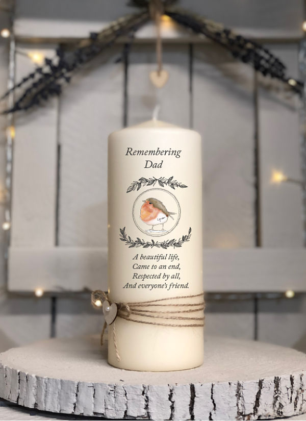 A Beautiful Life...Remembrance Candle-Remembering dad, robin, memorial candle in loving memory