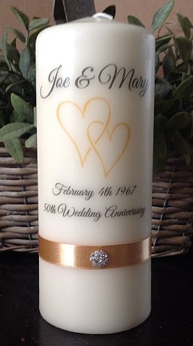 Gold Double Heart Anniversary Candle...-
