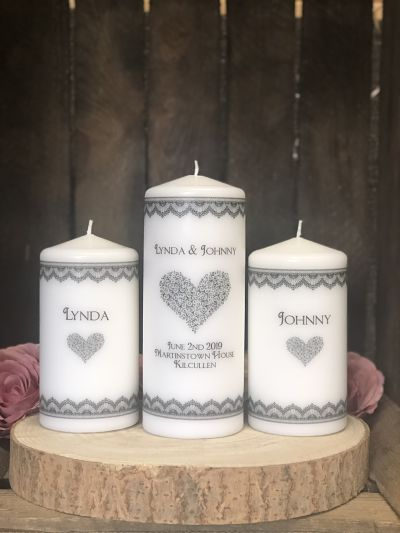 Art Deco Unity Candle Set-Personalised Art Deco wedding Unity Candle Set wedding candles traditional wedding church wedding candles lighting ceremony  Ireland UK Europe