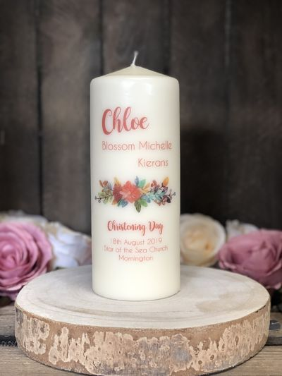 Autumnal Christening Candle-