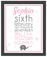 Baby Girl Print - Design Two-Personalised prints, Baby Girl, birth announcement, personalised baby gift personalised baby girl gift, baby gifts, newborn baby girl gifts, baby girl gift, newborn baby, personalised baby gift, customised baby girl gift, personalised baby girl present, framed baby girl print, framed personalised gift.
