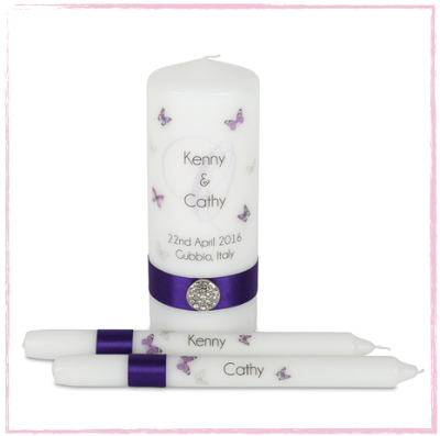 Butterfly Monogram Unity Candle Set-Personalised Unity Candle Set Monogram Butterflies Ireland UK Europe