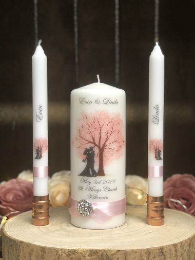 Cherry Blossom Bride & Groom Silhouette Unity Set-