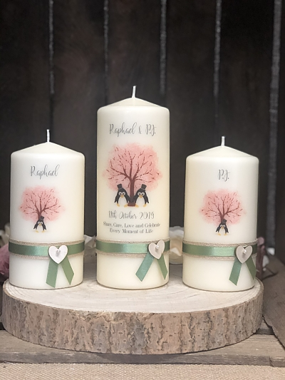 Cherry Blossom Unity Set-Cherry Blossom  Penguins wedding candle set, custom design, personalised unity candles,