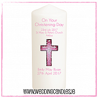 Christening Candle - Baby Girl - Design Three-