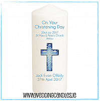 Christening Candle - Baby boy - Design Three-