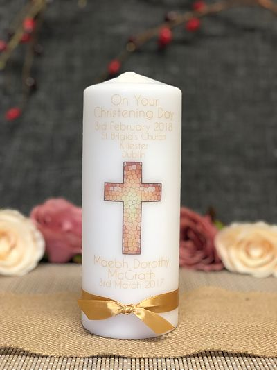 Christening Candle - Baby Boy or Girl - Gold-