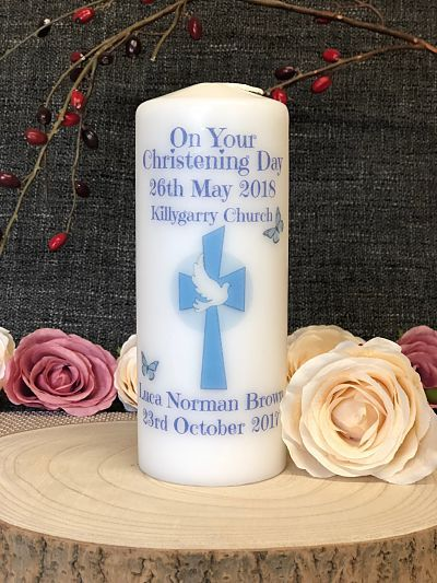 Christening Candle - Baby Boy -  Design Four-