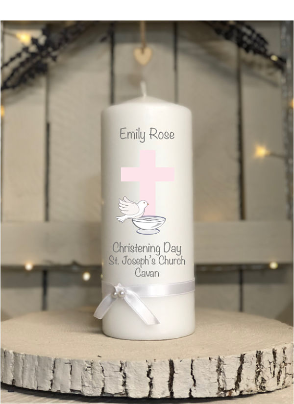 Christening Day Candle - Girl - Design Two-Baptism Christening