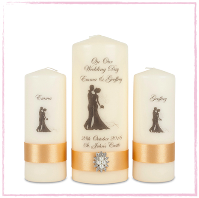 Bride & Groom Unity Candle Set-Bride and Groom Wedding Unity Set personalised wedding candles Ireland UK Europe  traditional wedding vintage wedding classic wedding style ivory candles ivory wedding candles