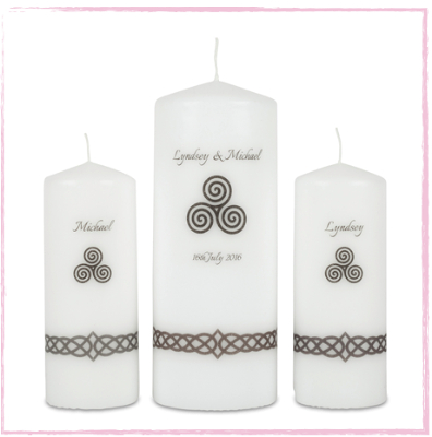 Celtic Triskele-Celtic Unity Candle Set Celtic Wedding Unity candles celtic unity candles irish wedding candles celtic designed wedding candles lighting ceremony candles catholic ceremony church wedding candles church candles UK Ireland Northern Ireland