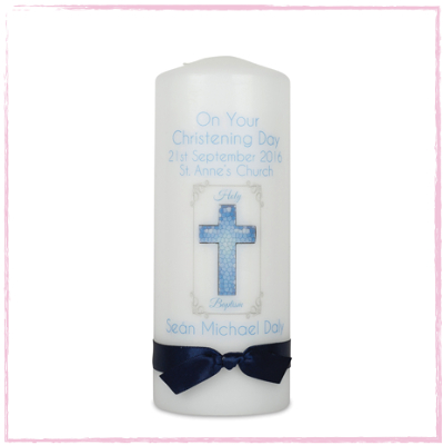 Christening Candle - Baby Boy - Design One-Christening Candle baby boy, Baptism Candles, Catholic Church Christening, Church of Ireland, Christian baptism, Catholic baptism, Christening candle, baby boy,  Traditional christening candle,