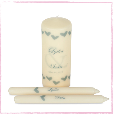 New England Wedding Unity Candle Set-New England Style Wedding Ceremony Unity Candle set.  Shabby Chic  main pillar side tapers Uk Ireland Irish company