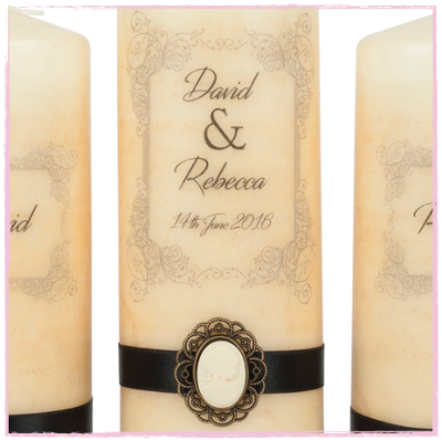 Vintage Cameo Wedding Unity Set-Wedding candles, unity candles vintage wedding candles rustic candles pillar wedding candles, Ireland, Uk, shipping worldwide.