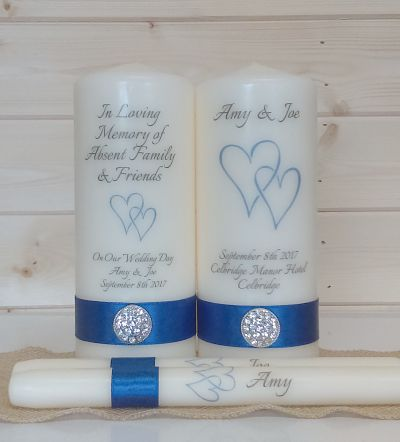 Double Heart Wedding Unity Set & Matching Remembrance Candle - Special Offer-Valentines day special, valentine candles, wedding candles, double heart unity set, wedding set for valentines day, special offer, free shipping, unity set and remembrance candle, red double heart, romantic wedding candles,