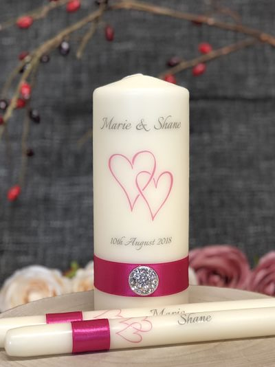 Double Heart Unity Candle Set-Personalised Unity Candle Set Double Heart Custom made candles Ireland UK Europe