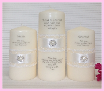 Satin Lace Unity Set-Lace and satin ribbon unity candle set, wedding candles, wedding unity candles, civil ceremony candles, Ireland, UK, Scotland, England, Wales, Europe, Northern Ireland.  Humanist wedding candles