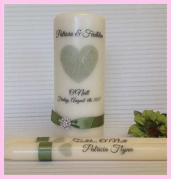 Mr & Mrs Unity Set-Sage green unity candle set, Mr  Mrs wedding candles, ivory wedding candles