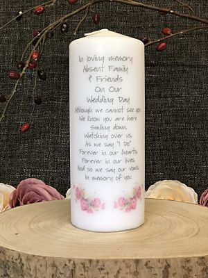 Floral Remembrance Candle-Remembrance candle, memorial candle wedding remembrance