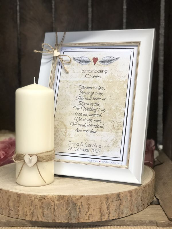 Remembrance Frame with Candle - Design One-Framed Remembrance Print and candle, personalised remembrance print, vintage remembrance print, rustic remembrance print, remembrance poem. remembrance candle. Ireland, UK, England, Scotland, Wales, Kildare, Northern Ireland