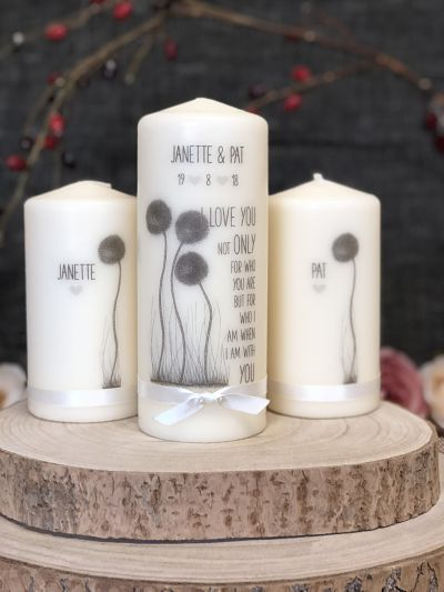 Irish Doodle Art Wedding Unity Set Round Candles-Irish Doodle Wedding Unity set wedding candles unity wedding candles customised candles UK Ireland  traditional wedding quirky candles designer candles