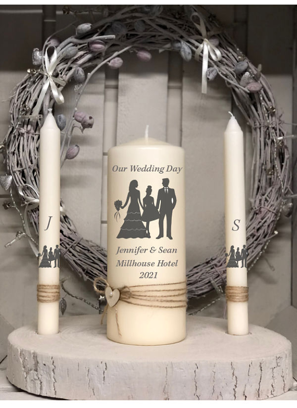 Bride, Groom & Teen Girl Unity Set-Family wedding set, bride, groom, girl