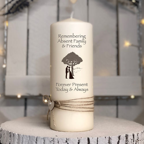 Kissing Bride & Groom Remembrance Candle-Remembrance bride groom rustic wedding tree