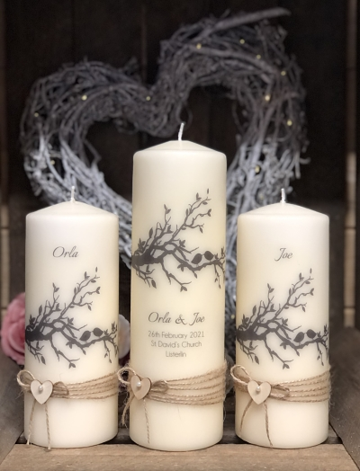 Rustic Lovebirds Unity Candles - Tall Set-