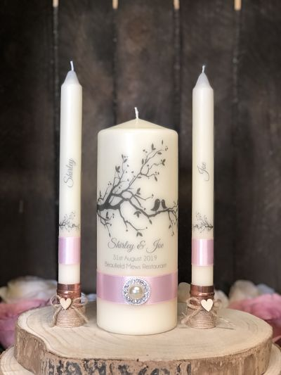 Love Birds Unity Candle Set-Personalised Wedding Unity Candle Set  Wedding Ceremony Candles  Wedding candles