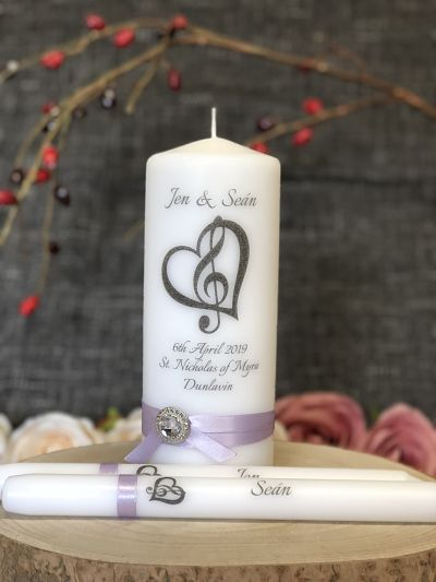 Music Theme Unity Set-Musical themed Wedding Candles, Treble Clef inside a heart unity set