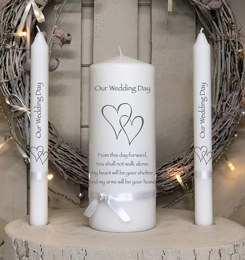 NP Two Hearts - From this day forward...-non personalised wedding unity candle set