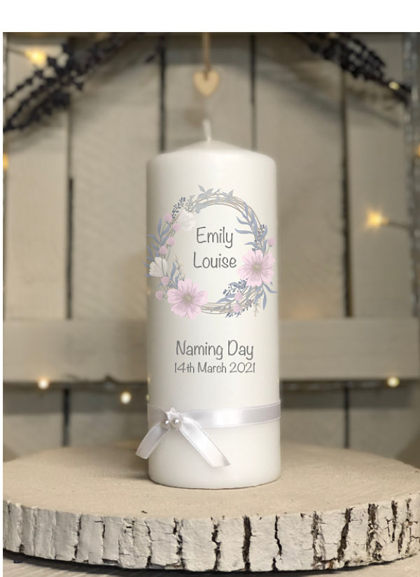 Naming Day Candle - Girl - Design One-Naming day candle