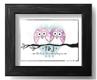 Wedding or Engagement Gift - The 'Owl Married Couple - Design Two-