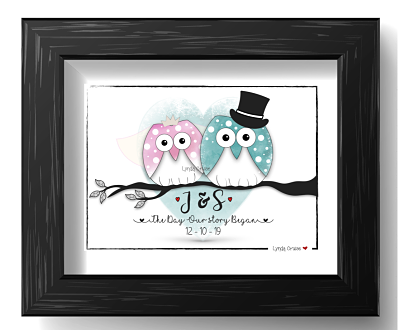 Wedding or Engagement Gift - The 'Owl Married Couple - Design One-Wedding gift, engagement gift, wedding art, personalised wedding gift.