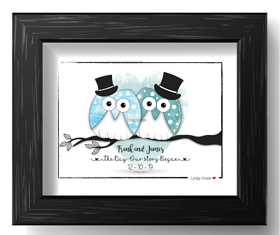 Wedding or Engagement Gift - The 'Owl Married Couple - Design Three-