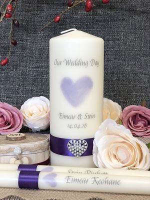 Purple Heart Wedding Unity Set-Wedding Candles, Wedding Unity Set, Irish Wedding Candles, Traditional Wedding, Lighting Ceremony, Catholic wedding ceremony, religious wedding, unity candles, handcrafted candles, Ireland, Uk, Worldwide, Ivory Pillar candles, White wedding candles,