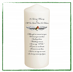 Robin Remembrance Candle (Non Personalised)-Robin Red Breast Remembrance Candles, Memorial candle, loved ones in Heaven.