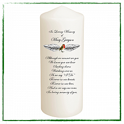 Robin Remembrance Candle - Personalised-