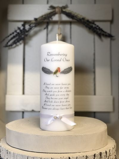 Robin Wings Remembrance Candle-Remembrance candle, memorial candle, remembering loved ones, robin, angel wings