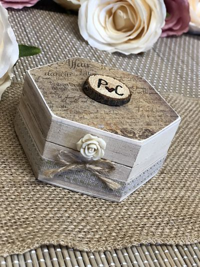 Rustic Style Ring Box - Design Three - Hexagon-