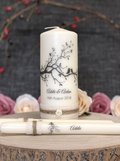 Rustic Lovebirds Wedding Unity Set-Lovebirds Unity Set, wedding candles, rustic style unity candles, Love birds, Ireland, UK, Europe
