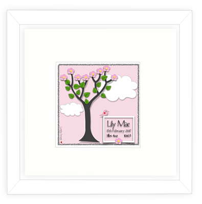 Baby Girl Print - Design One-Baby gifts for girls, new baby gift, personalised baby girl gift, baby boy, twins, triplets, birth announcement, pink, blue, printed and framed
