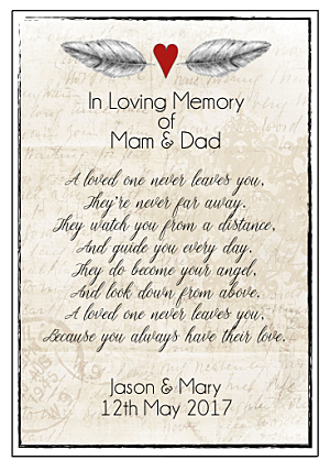 Personalised Remembrance Verse - Print yourself-Printable Remembrance verse, personalised printed remembrance verse, do it yourself printable remembrance verse for your wedding day.  Remembering your loved ones.