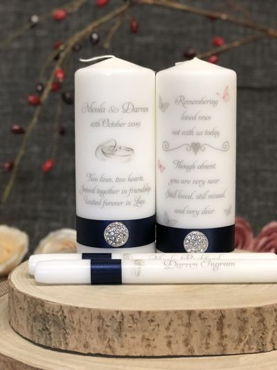 Silver Rings Unity Set and Butterfly Remembrance Candle-
