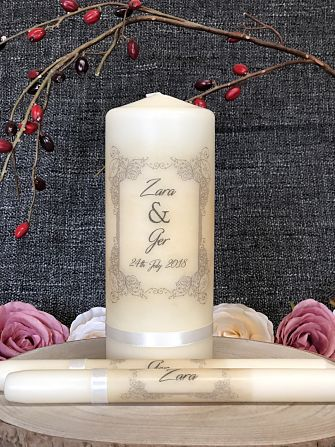 Vintage Filigree Border-Wedding Candles, Wedding Unity Set, Irish Wedding Candles, Traditional Wedding, Lighting Ceremony, Catholic wedding ceremony, religious wedding, unity candles, handcrafted candles, Ireland, Uk, Worldwide, Ivory Pillar candles, White wedding candles,