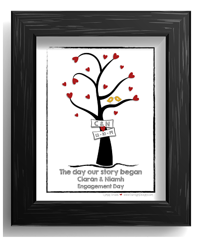 Engagement Or Wedding Gift - Design Three - Tree of Love-Wedding engagement gifts prints