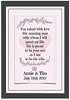 Raised With Love...Gift for Bride's New Mother In Law-Personalised prints, wedding prints, wedding gifts, wedding gift ideas, mother of the bride, father of the bride, mother of the groom, father of the groom, bridesmaid, flower girl, page boy, groomsman, best man, maid of honour, wedding present, quirky, framed print, framed personalised print, mother , father.